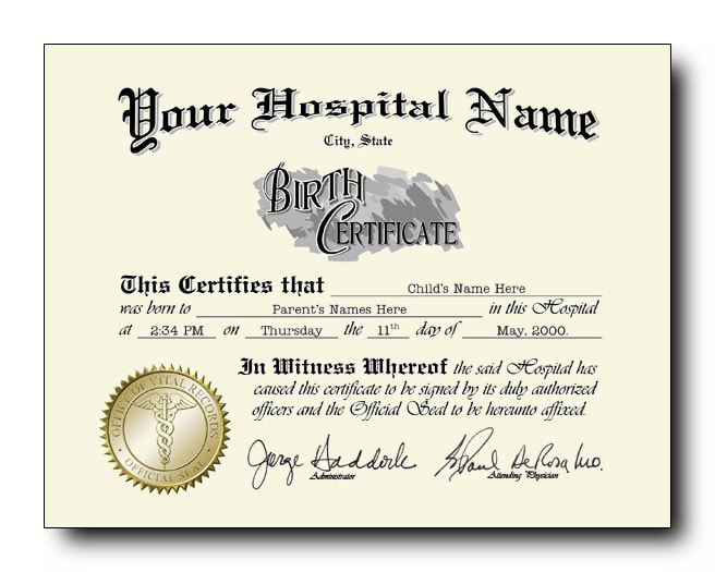 Fake Birth Certificate with raised gold seal