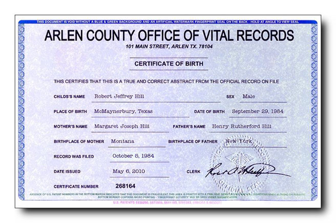 Fake Birth Certificate with an embossed seal